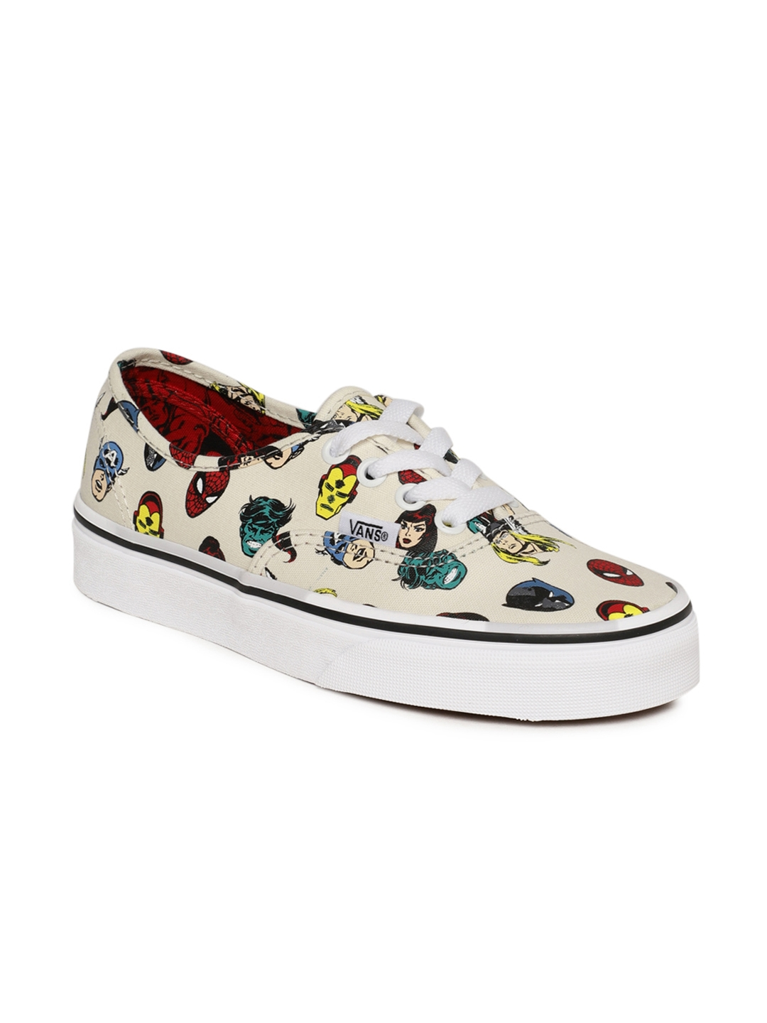 c0acd4145af324 Buy Vans Unisex Off White Marvel Avengers Printed Authentic Sneakers ...