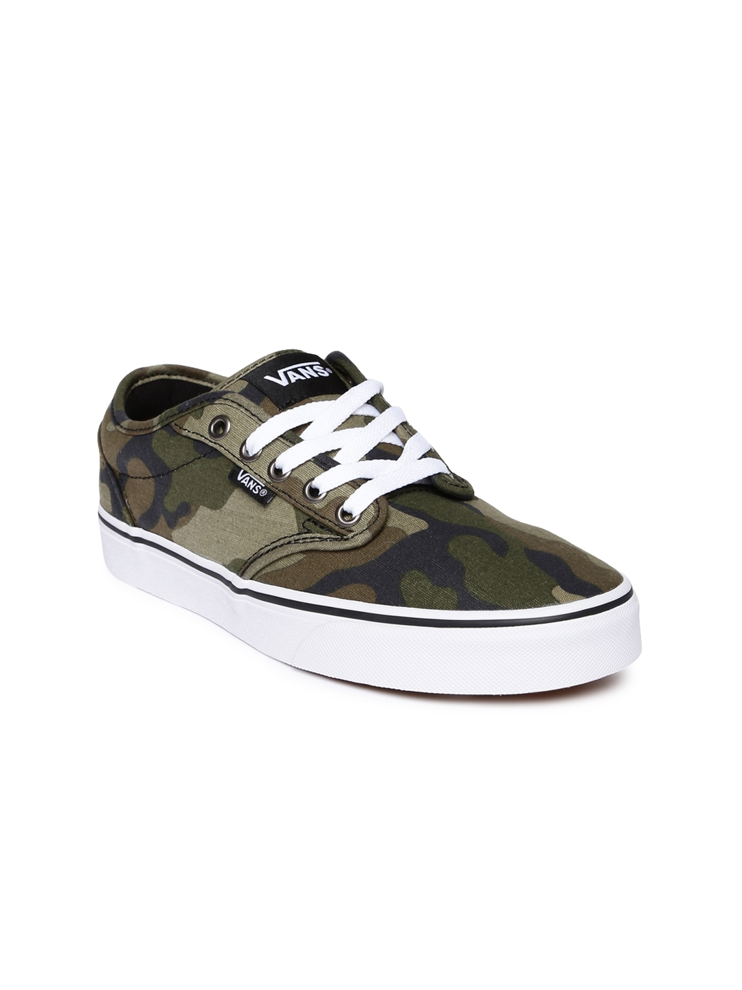 d2a5eac9c44d69 Buy Vans Men Olive Green Camouflage Printed Atwood Sneakers - Casual ...