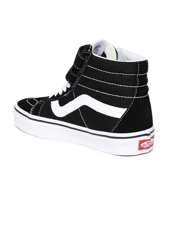 b23c398acbf0 Vans Unisex Black Solid Textile SK8-Hi Reissue V Mid-Top Sneakers