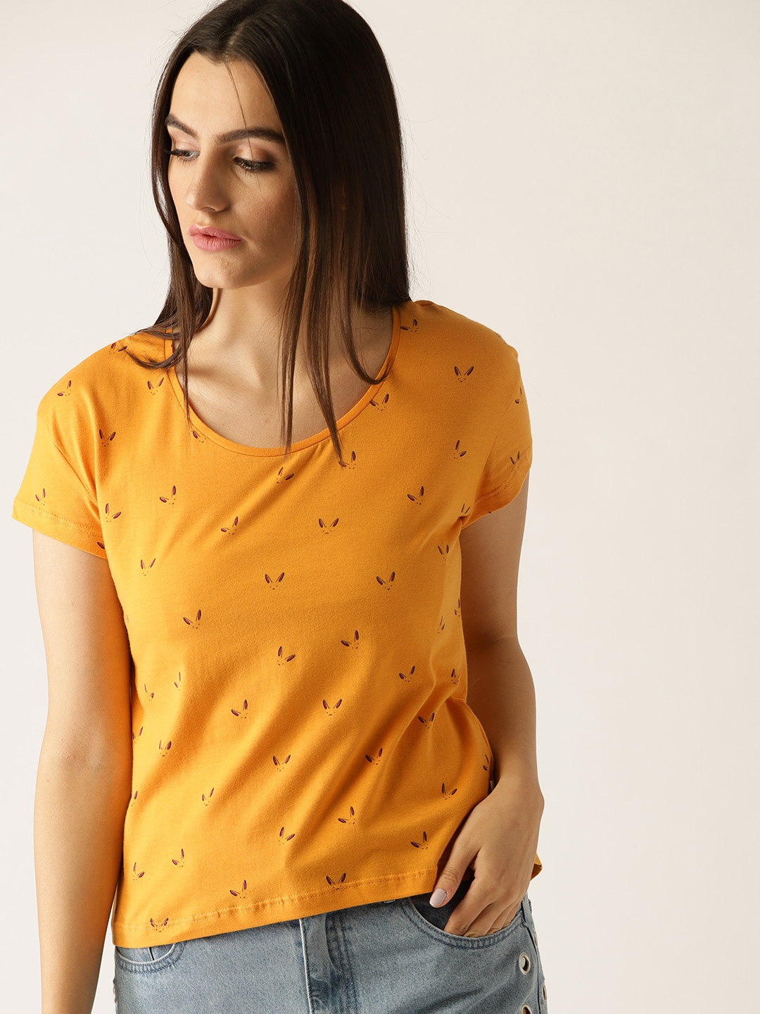 0b19a2ad7a2a United Colors of Benetton Women Mustard Yellow Printed Round Neck T-shirt