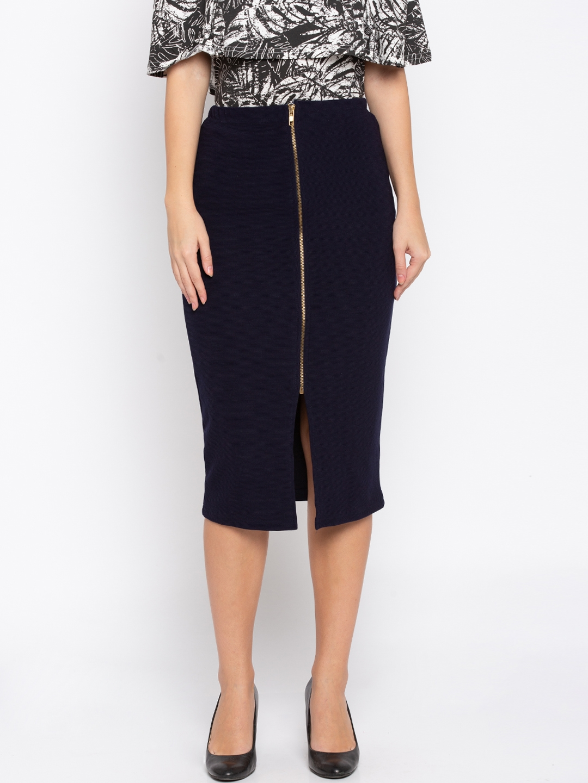 3e2b38bfb6 Buy Globus Women Navy Blue Straight Skirt - Skirts for Women 7052440 ...