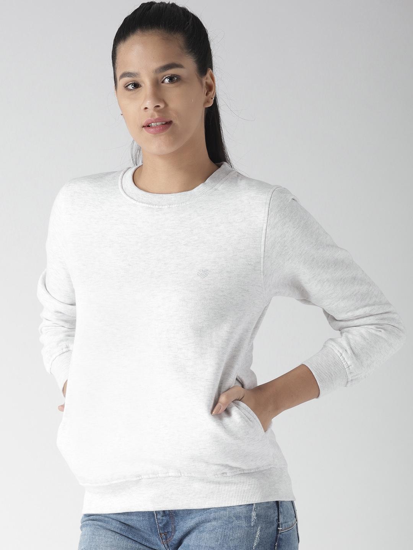 Fort Collins Women Grey Melange Solid Sweatshirt