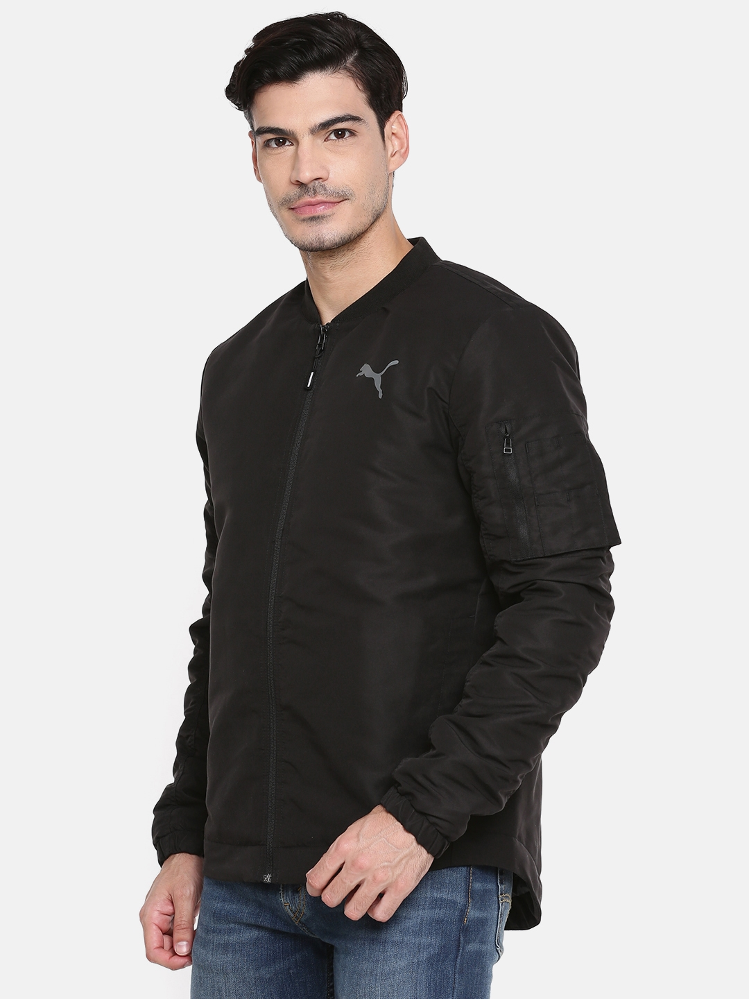 766806a51 Puma Men Black Style Bomber Solid Stand Collar Bomber Jacket