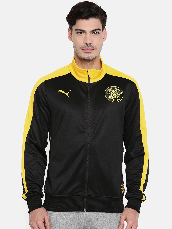 e4ee82f214360 Puma Men Black & Yellow Solid BVB T7 Track Jacket
