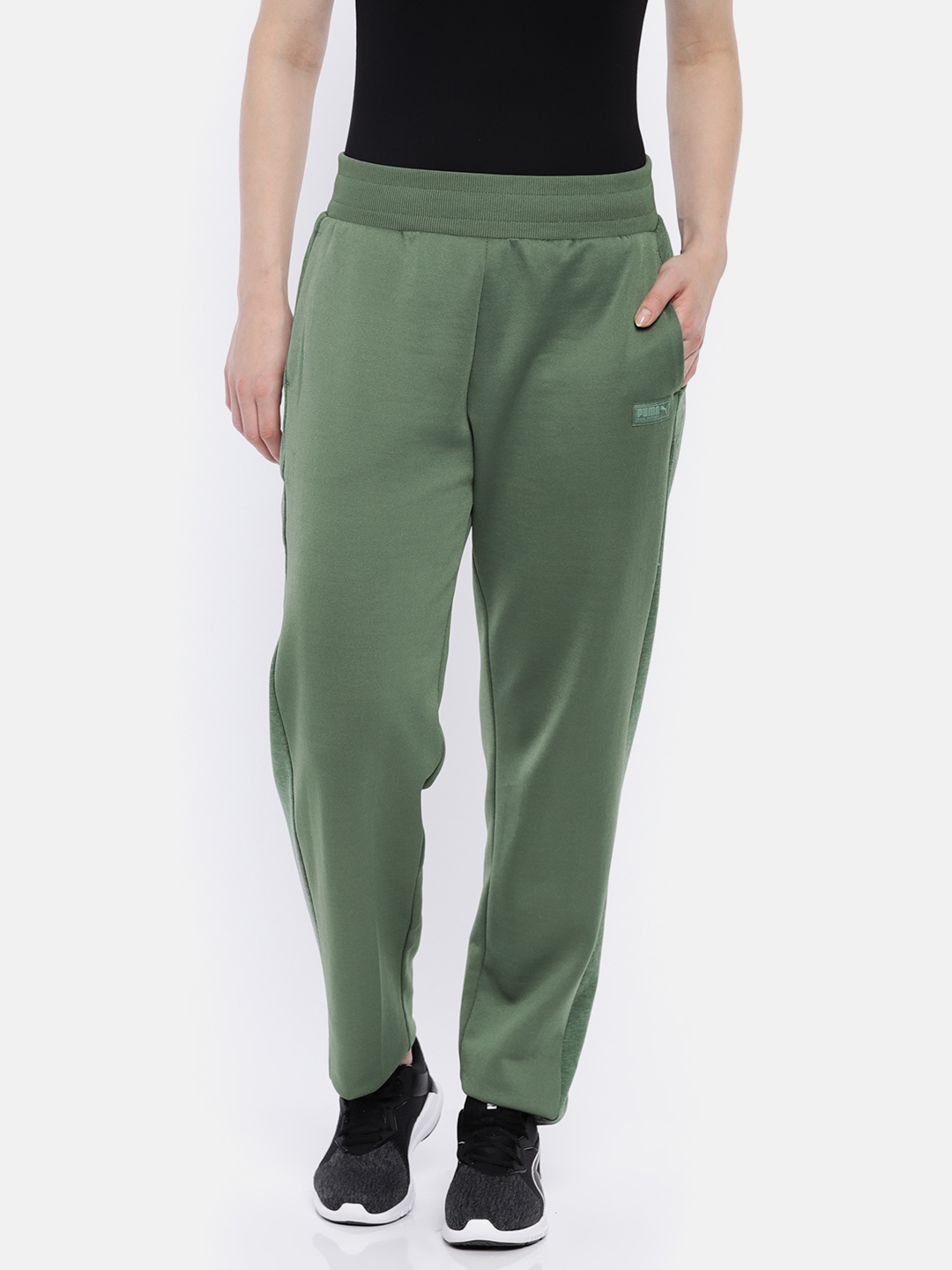 5641b6380d6c Buy Puma Women Green Solid FUSION Relaxed Fit Track Pants - Track ...