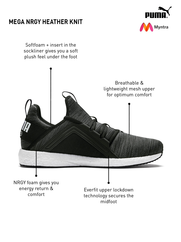 Buy Puma Men Black Mega NRGY Heather Knit Training Shoes - Sports ... cc14df546