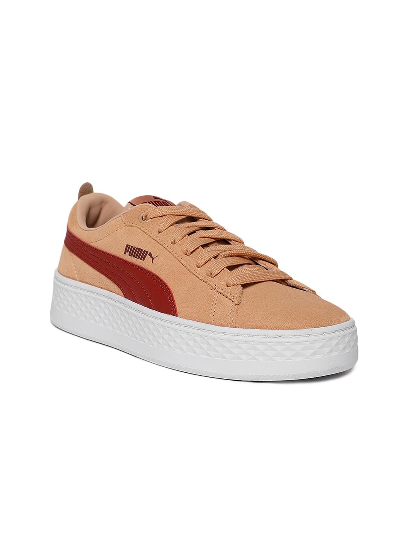 cd0ef357731 Puma Women Peach-Coloured Smash Platform SD Suede Sneakers