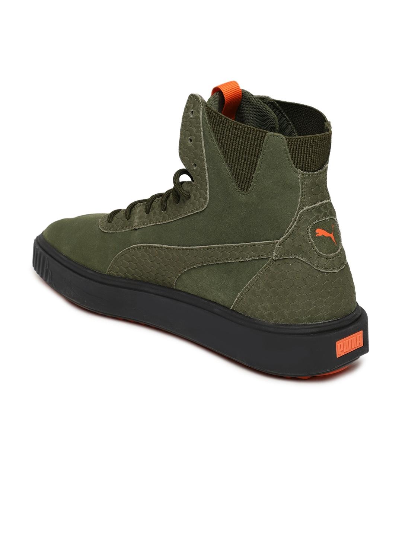 85cf653e578d Puma Men Olive Green Breaker Hi FOF Leather High-Top Suede Sneakers