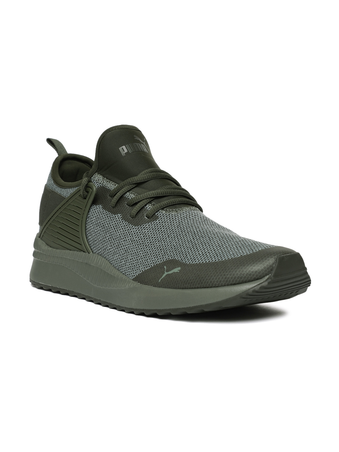 fd65b083e5b7ee Buy Puma Men Olive Green Pacer Next Cage Knit Sneakers - Casual ...