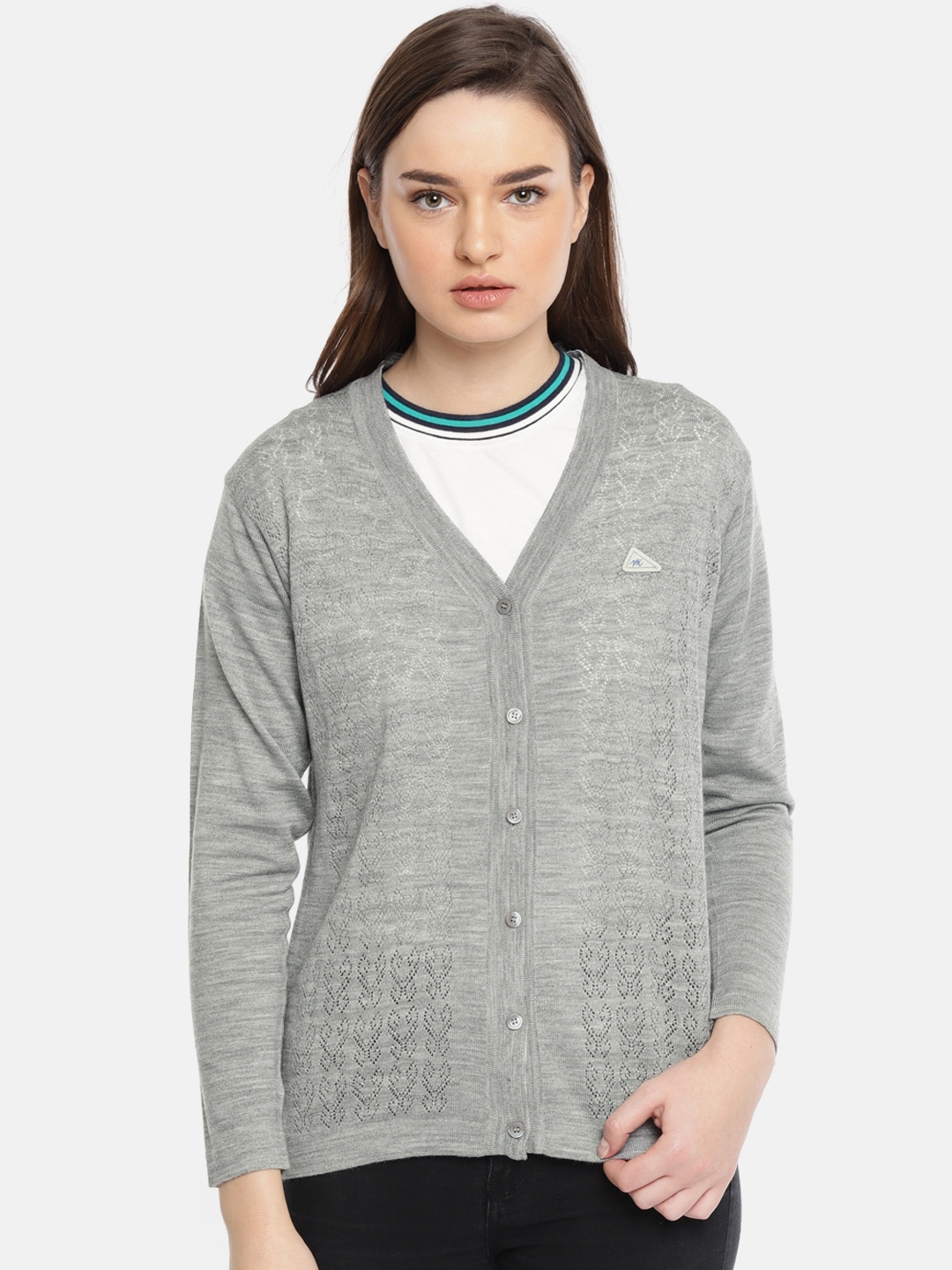 Monte Carlo Women Grey Self Design Cardigan