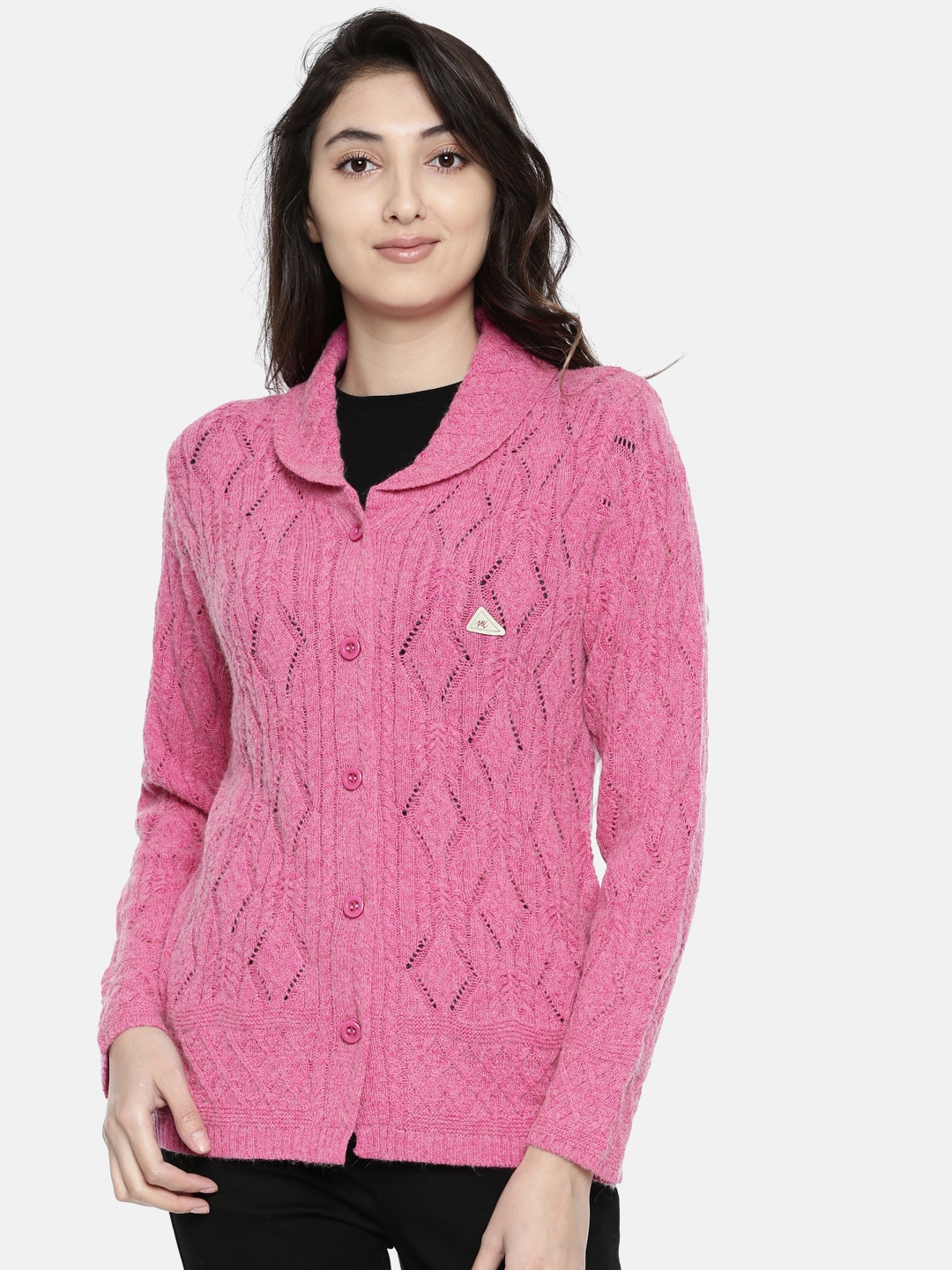 Monte Carlo Women Pink Self Design Cardigan