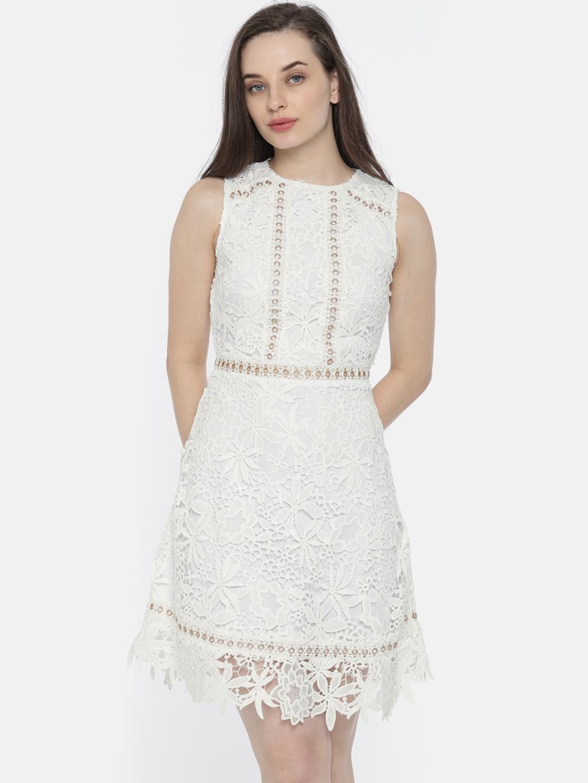 71cf94a43 Buy Vero Moda Women White Self Design Sheath Dress - Dresses for ...