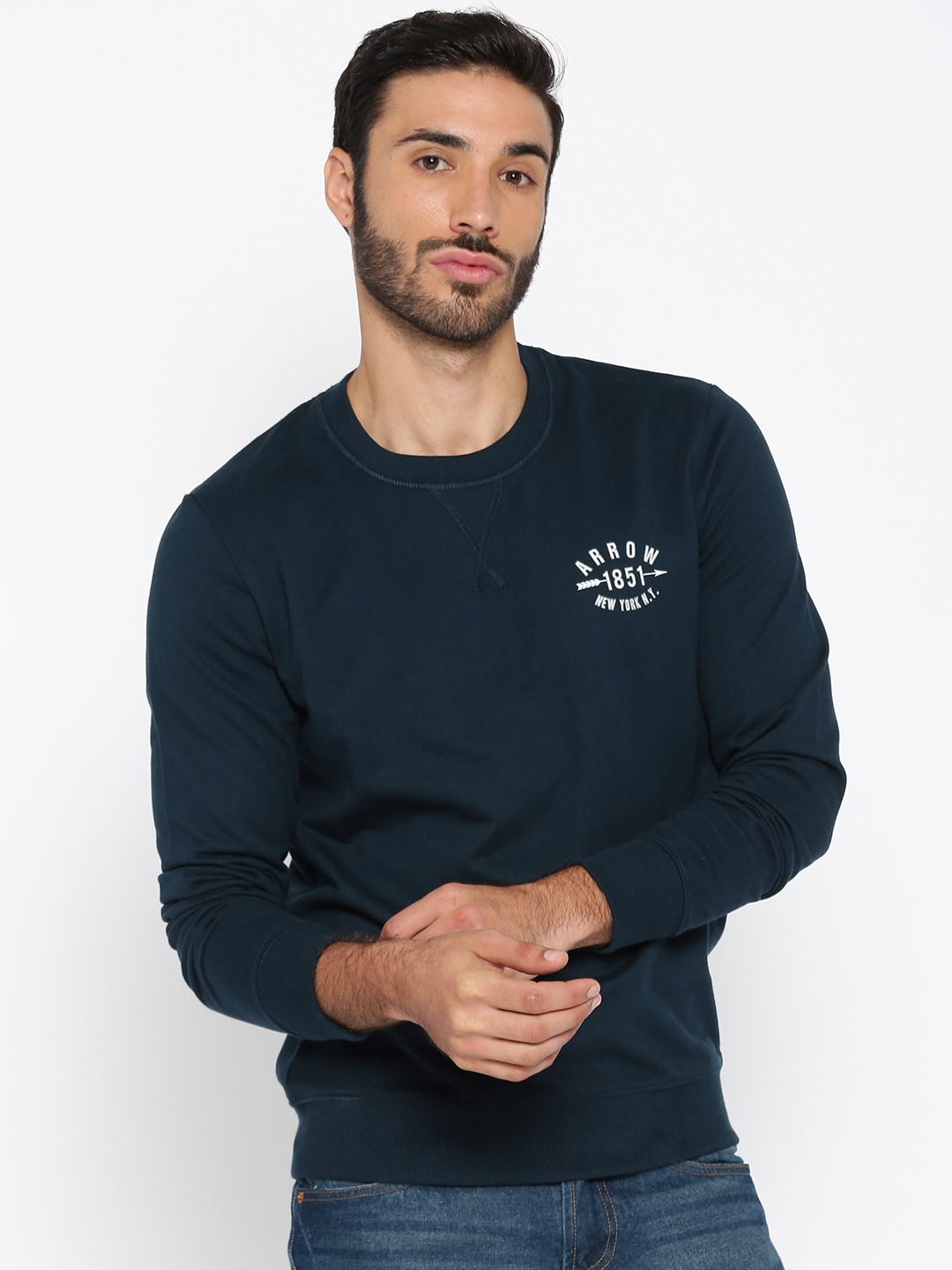 Arrow Sport Men Navy Blue Solid Sweatshirt
