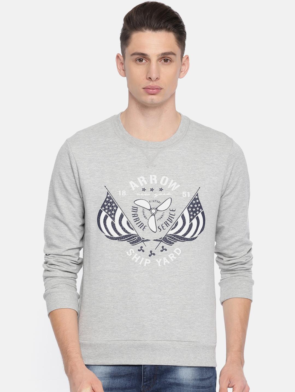 Arrow Sport Men Grey Printed Sweatshirt