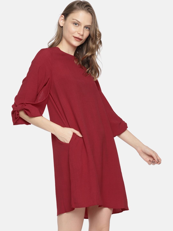 a615edc0da2a Buy Elle Women Maroon Solid A Line Dress - Dresses for Women 7080160 ...