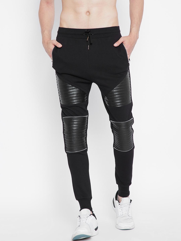 33d73f47282eba Buy FUGAZEE Men Black Slim Fit Faux Leather Biker Joggers - Track ...