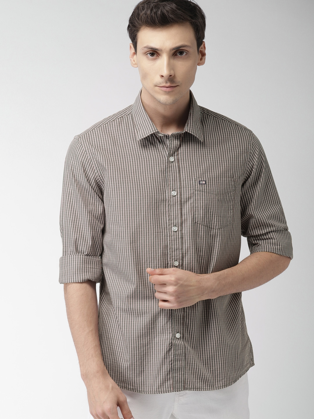 Buy Arrow Sport Men Grey Off White Slim Fit Checked Casual Shirt