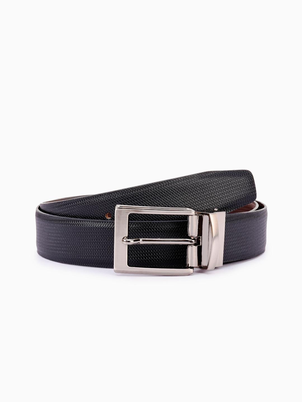 BuckleUp Men Black   Brown Reversible Textured Leather Belt BuckleUp Belts
