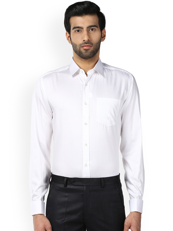 6089bd4a Buy Park Avenue Men White Regular Fit Solid Formal Shirt - Shirts ...