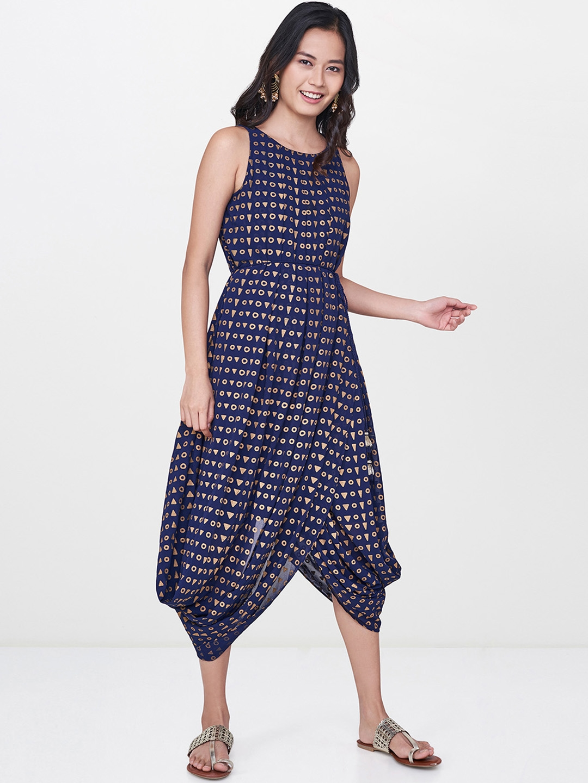 fa83408fbad Buy Global Desi Women Navy Blue Printed A Line Ethnic Dress ...