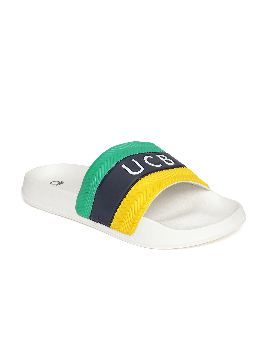 c1d5aa9ff023 Buy United Colors Of Benetton Men Yellow   Green Striped Sliders ...