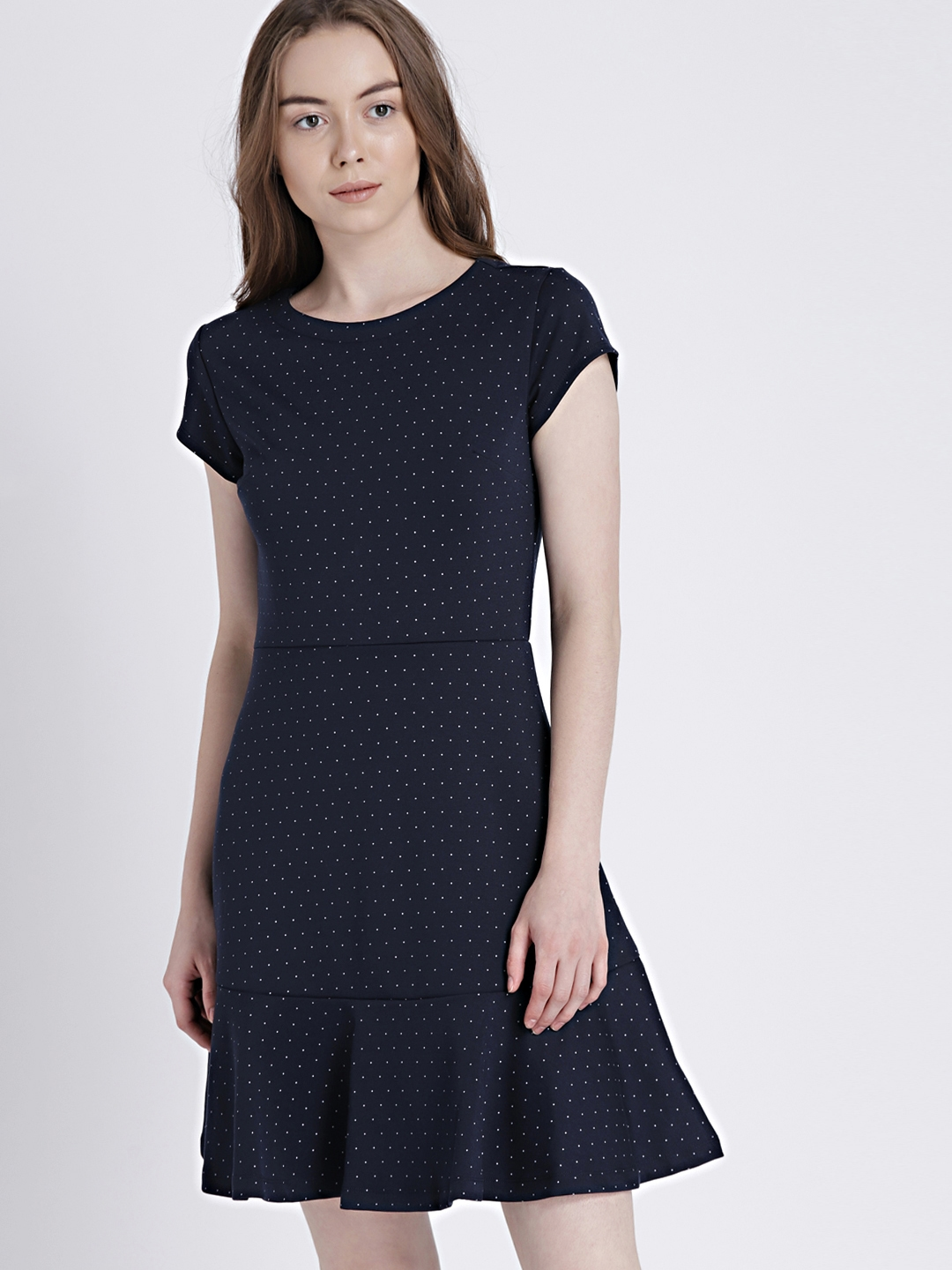 89fab6783a Buy GAP Women s Navy Blue Short Sleeve Fit And Flare Peplum Dress In ...