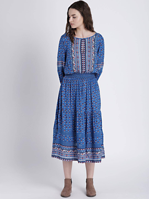 9941087143d Buy GAP Women s Blue Mix Print Long Sleeve Tiered Midi Dress ...