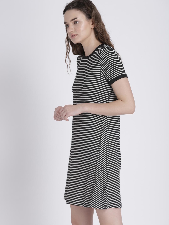 ff5de2226215a Buy GAP Women's Black Short Sleeve Ribbed T Shirt Dress - Dresses ...