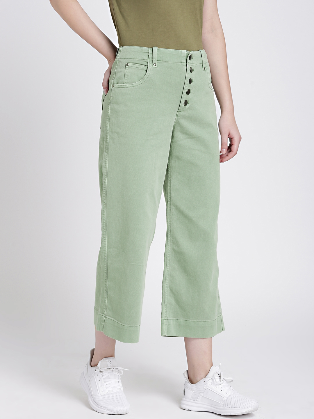 2ec13af19b0 Buy GAP Women's Green High Rise Crop Wide Leg Pants With Button Fly ...