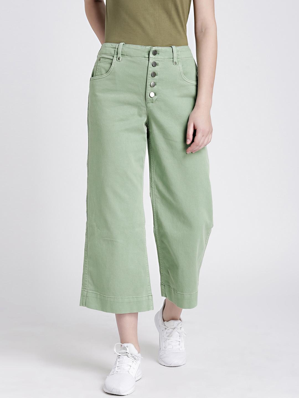 e2855dd02f Buy GAP Women's Green High Rise Crop Wide Leg Pants With Button Fly ...