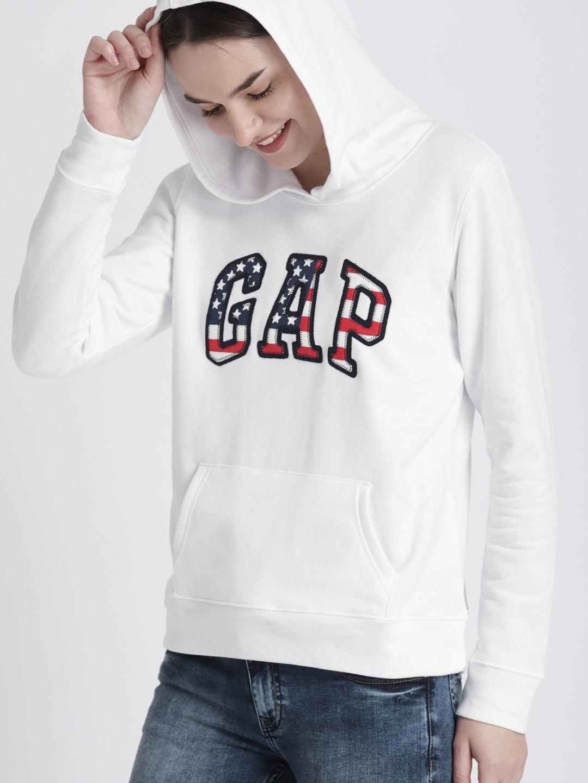 5a2deb59 Buy GAP Women's White Flag Print Logo Zip Hoodie - Sweatshirts for ...