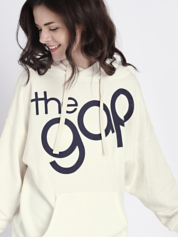 Buy GAP Women s White Logo Graphic Pullover Hoodie Tunic ... 596f2e9d8c