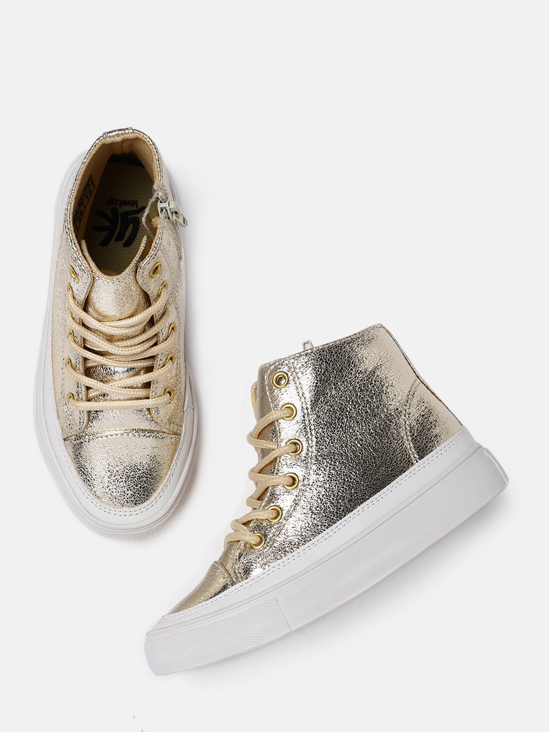 a74dc7a78945 Buy YK Girls Gold Toned Mid Top Sneakers - Casual Shoes for Girls ...