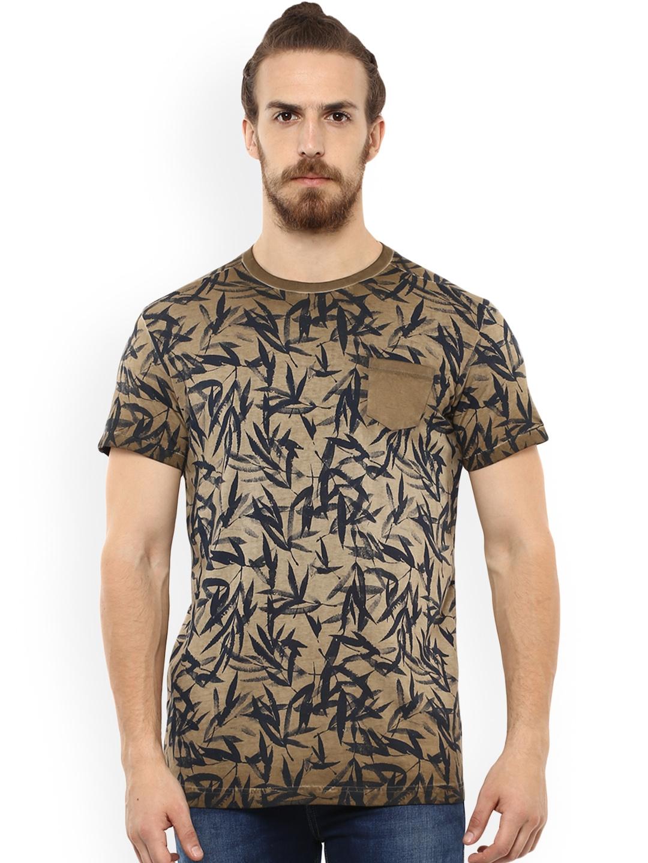 20c5bc2e Buy Mufti Men Khaki Printed Round Neck T Shirt - Tshirts for Men ...