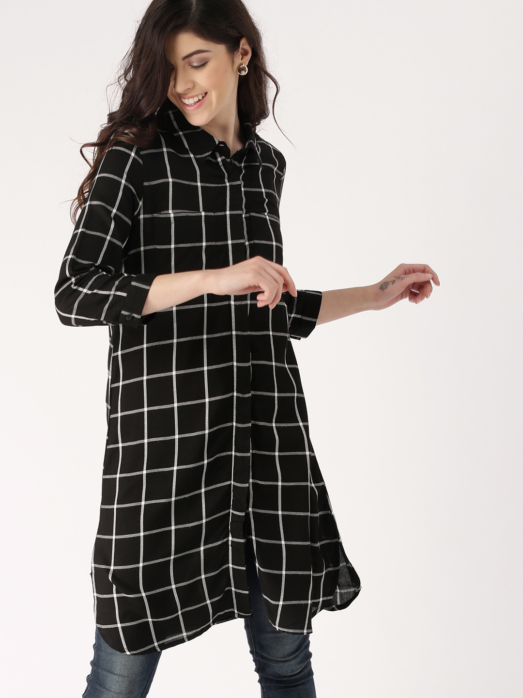 01373c558ccd29 DressBerry Women Black & White Regular Fit Checked Longline Casual Shirt
