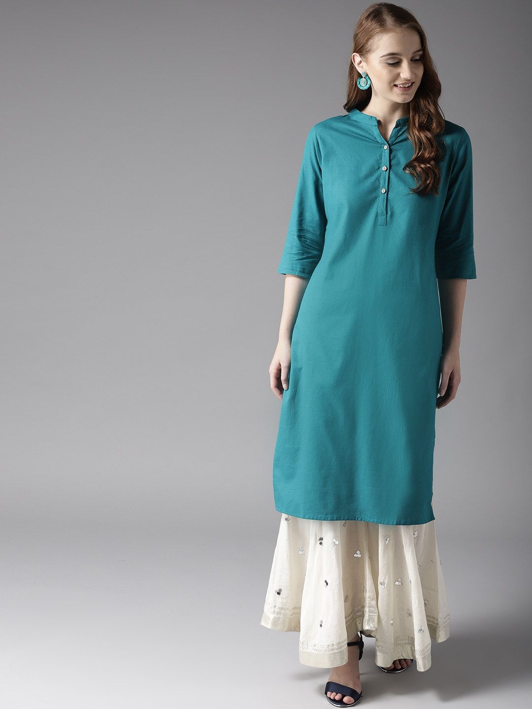 e01234ae6513e Buy HERE&NOW Women Teal Blue Solid A Line Kurta - Kurtas for Women ...