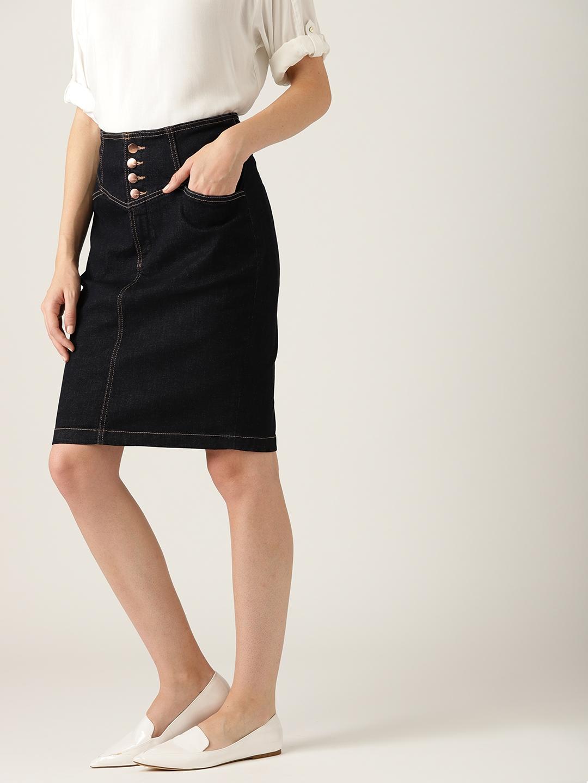 d659d74948 Buy ESPRIT Navy Black Solid Denim Pencil Skirt - Skirts for Women ...