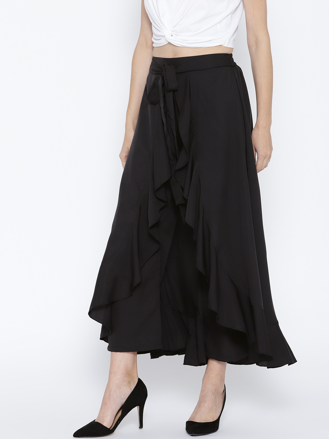 1c5a01bc37 Berrylush Black Solid Ruffled Flared Maxi Skirt with Attached Trousers