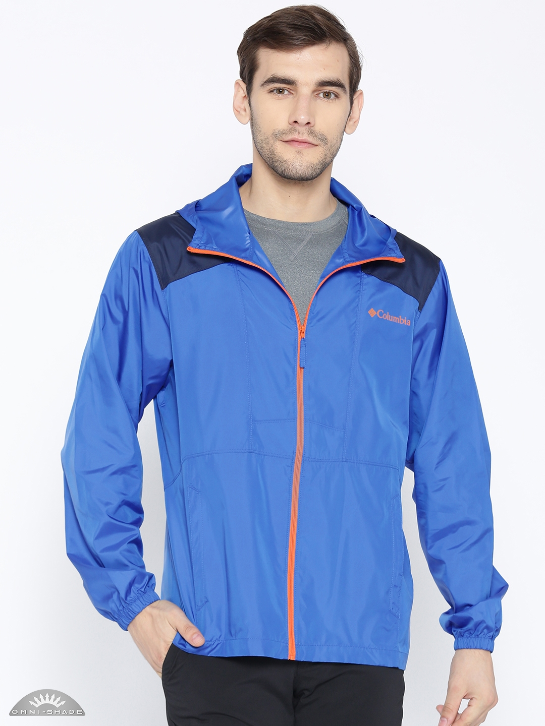 b5b93465041 Columbia Men Blue Flashback Windbreaker Pullover Water Resistant Rain Jacket