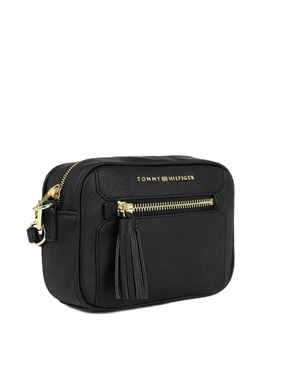 Buy Tommy Hilfiger Black Textured Sling Bag Handbags For Women