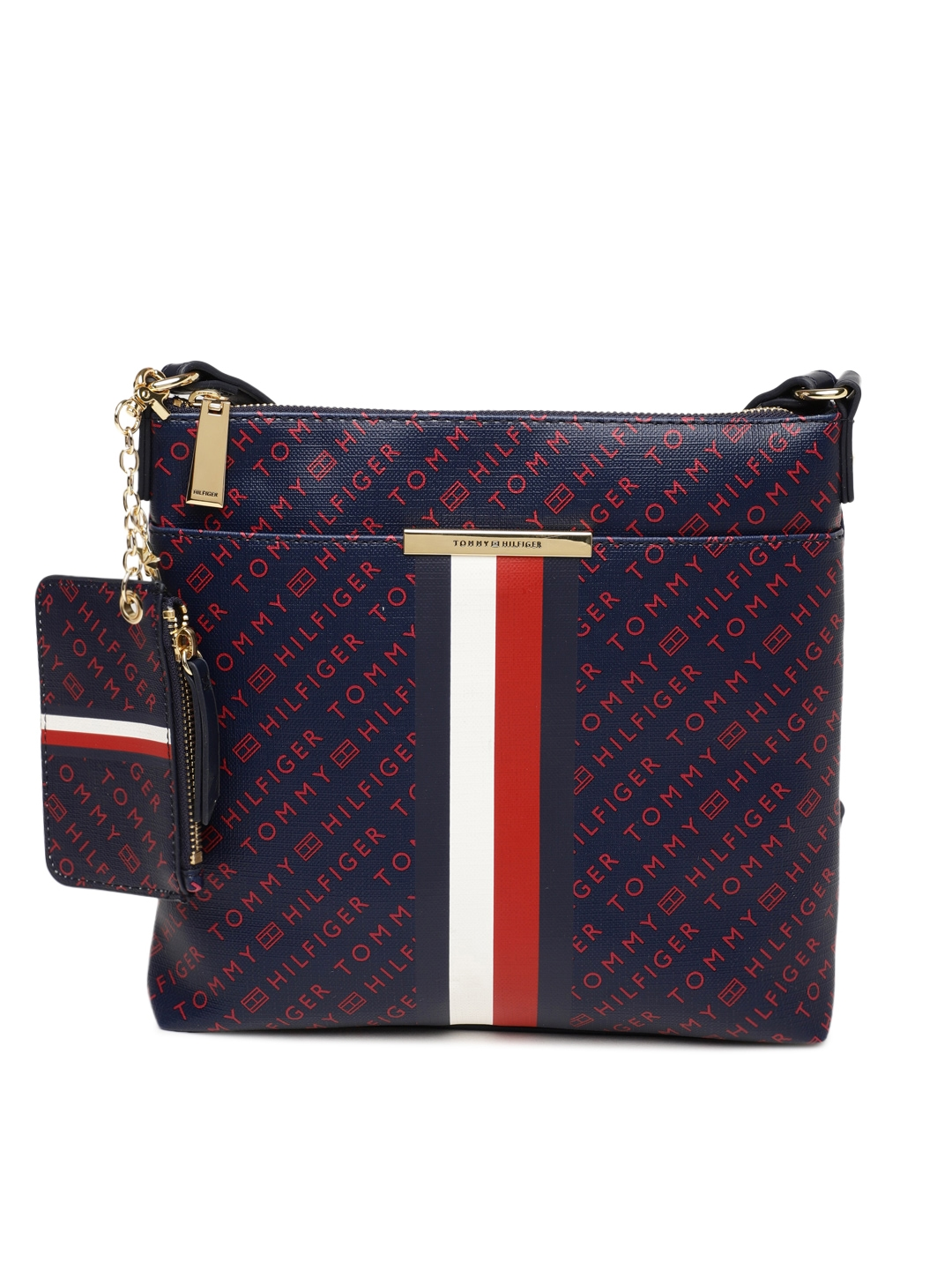 4e26e4c74eee9 Buy Tommy Hilfiger Navy Blue   Red Printed Sling Bag - Handbags for ...