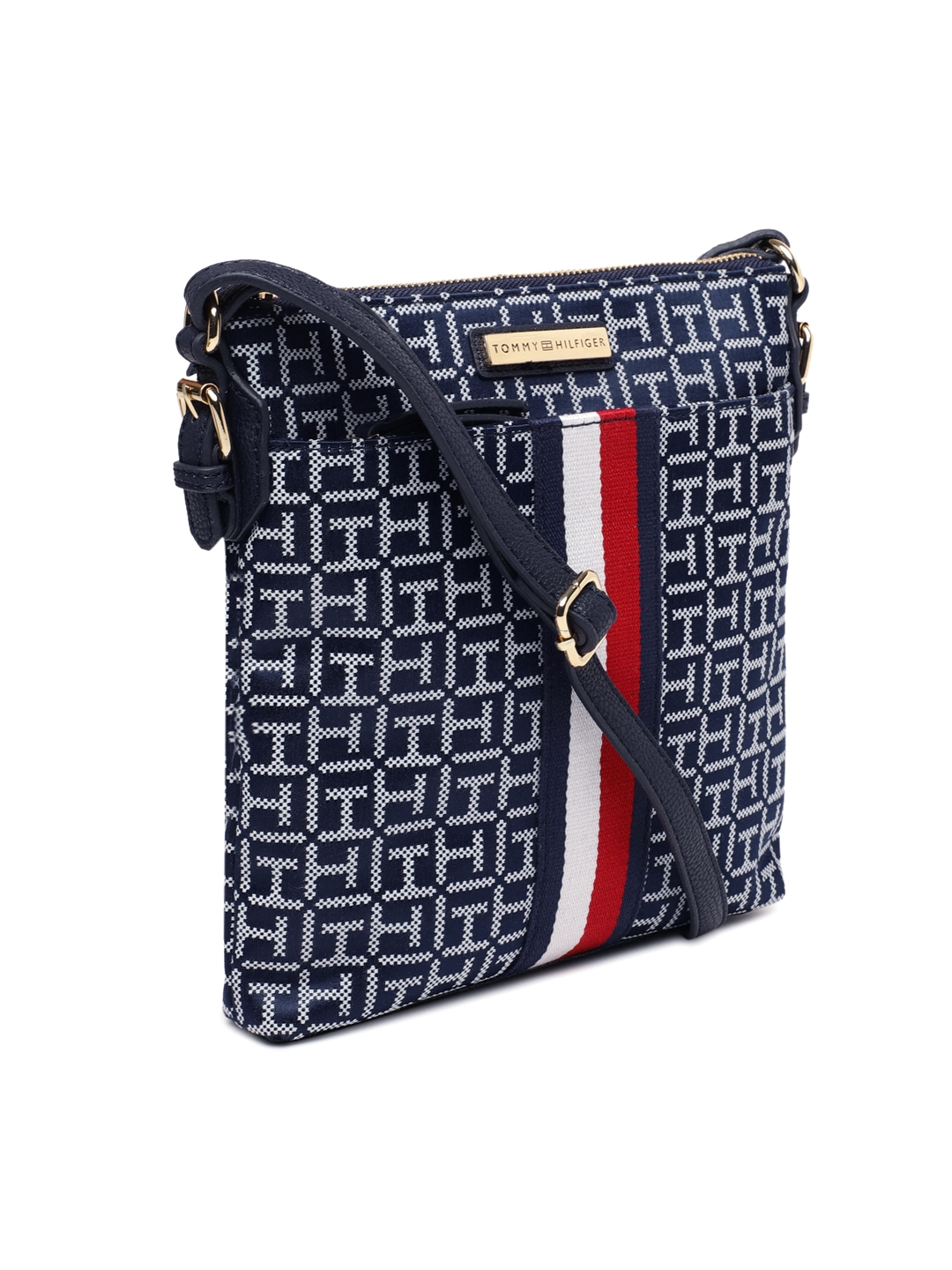 1a9358de2a5 Buy Tommy Hilfiger Navy Blue & White Self Design Sling Bag ...