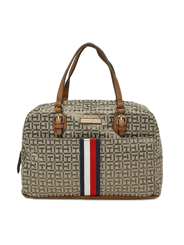 e2e750e2e9a0 Tommy Hilfiger Beige & Brown Printed Handheld Bag