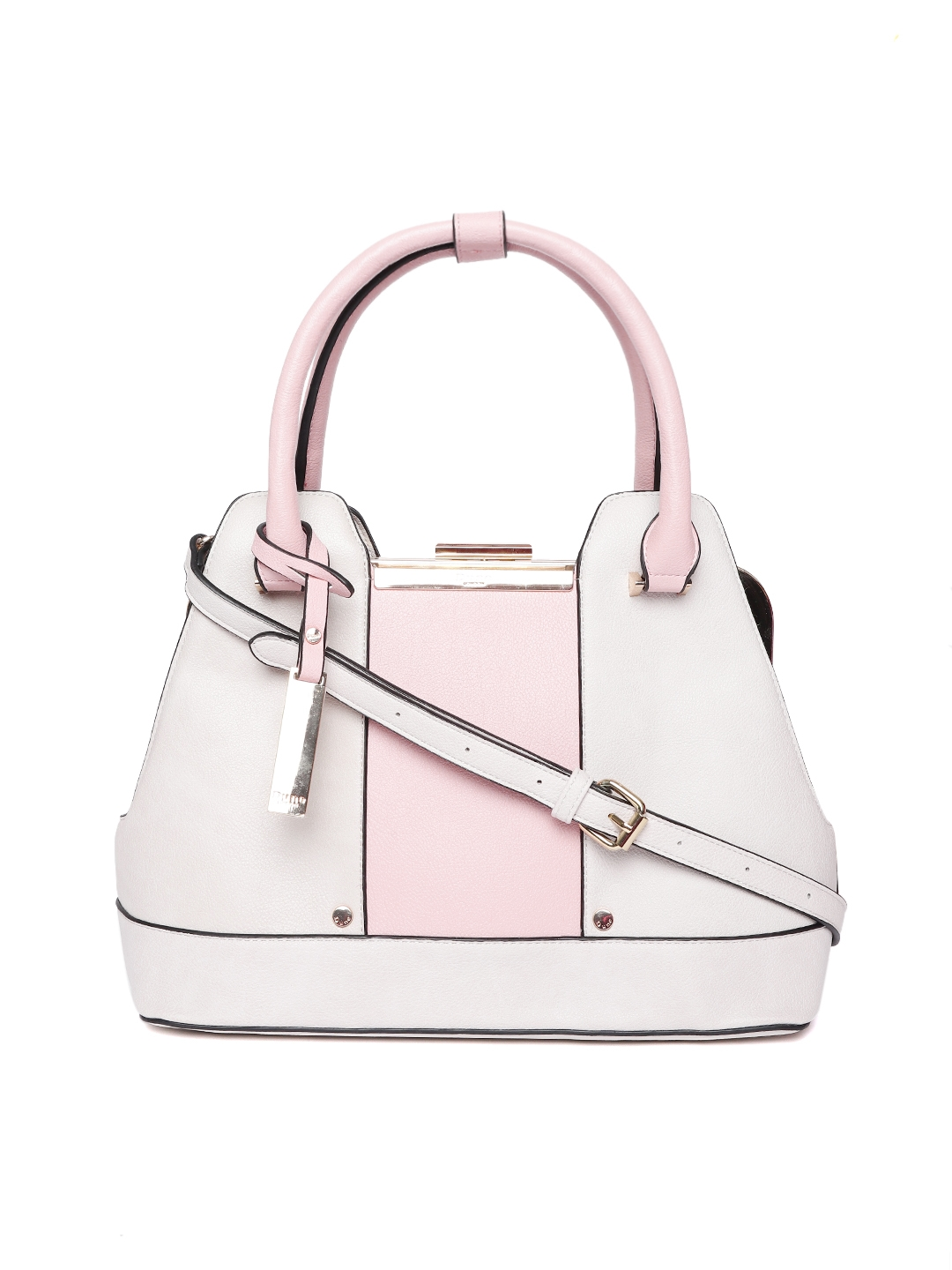 Dune London Off White Pink Colourblocked Handheld Bag