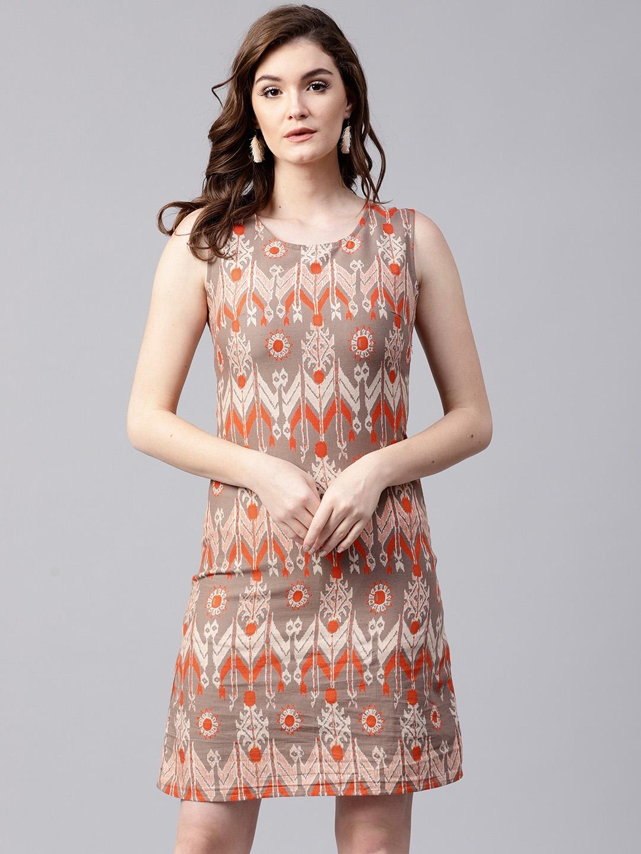 AKS Women Grey   Orange Printed A Line Dress AKS Dresses