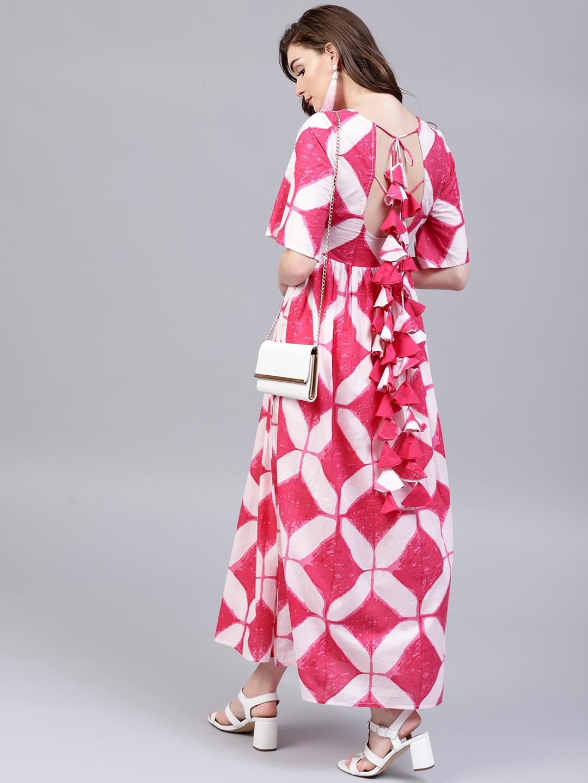 90a341c3dc Buy AKS Women Pink & White Printed Maxi Dress - Dresses for Women ...