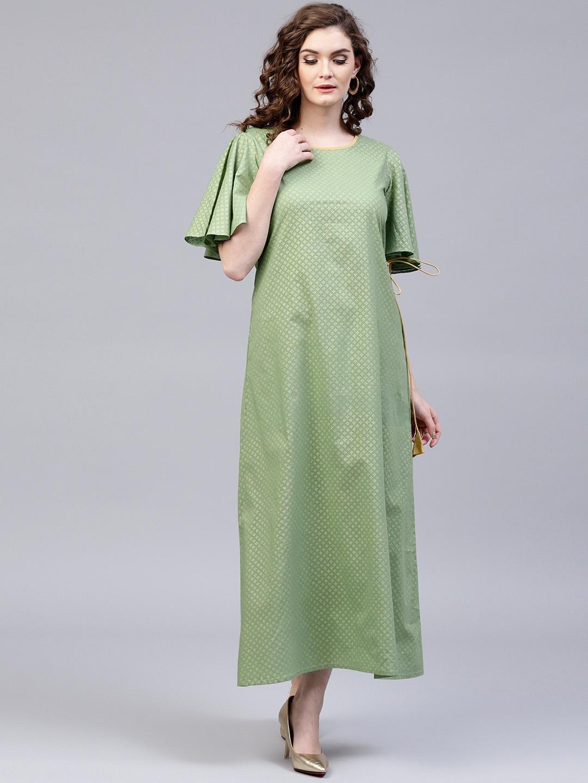 c5a460af264 Buy AKS Women Green   Golden Printed Maxi Dress - Dresses for Women ...