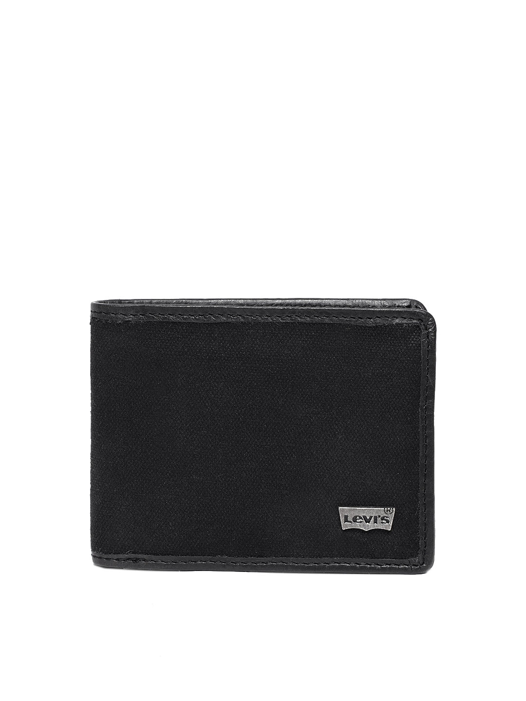 Levis Men Black Solid Two Fold Canvas Leather Wallet