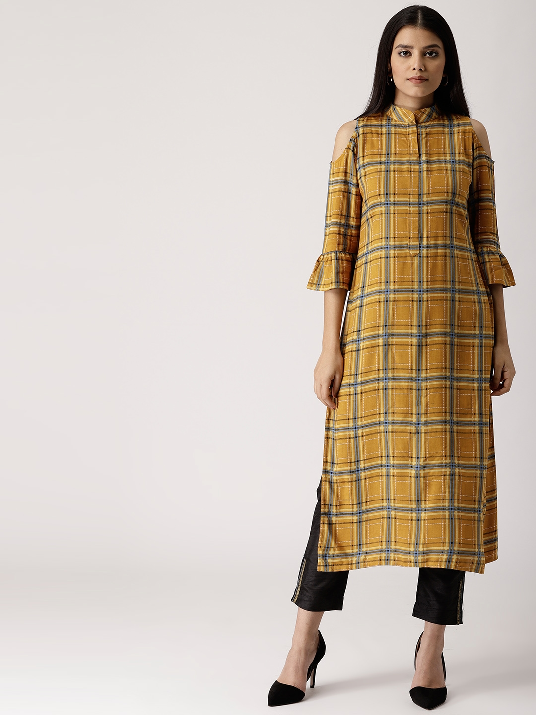 3c615bf65 Buy Libas Women Mustard Yellow   Blue Checked Cold Shoulder Straight ...