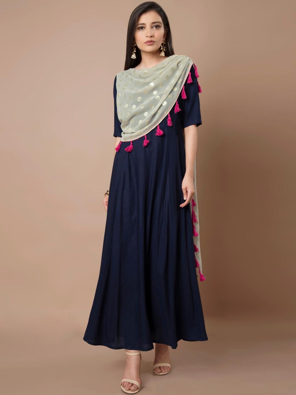 7b87be43d28d66 Buy INDYA Women Navy Blue Solid Maxi Dress - Dresses for Women ...